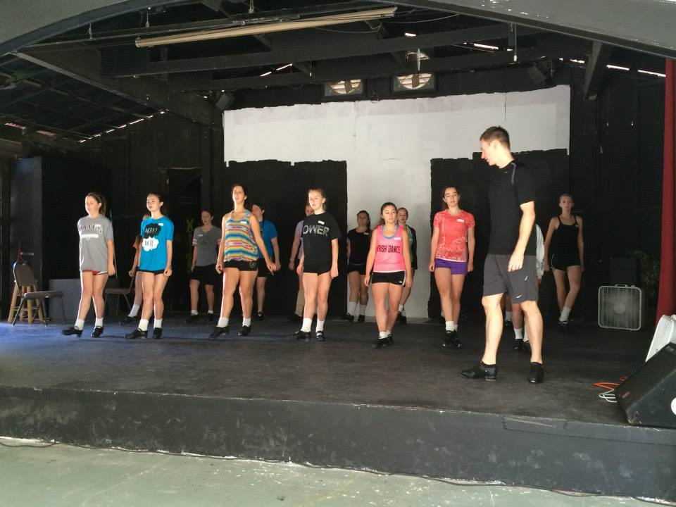 David McCabe, drilling steps in California Irish dance camp