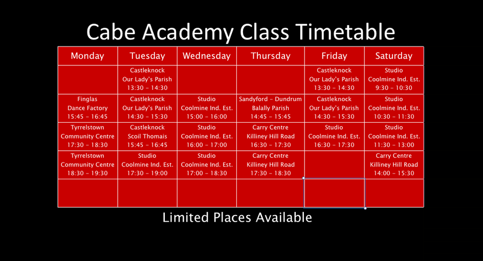 Cabe Academy Class Timetable